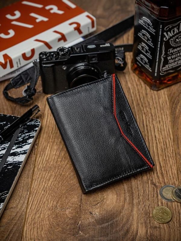 Чоловічий шкіряний гаманець чорно-червоний 2057