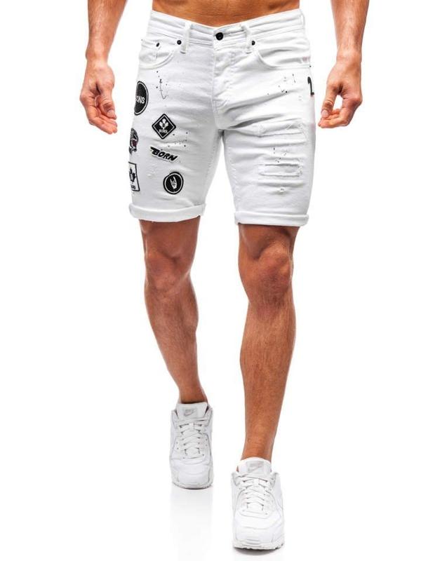 Чоловічі джинсові шорти білі Bolf 3029