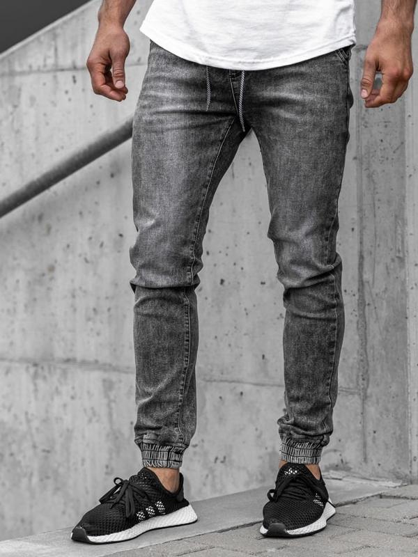 Чоловічі джинсові штани джоггери сірі Bolf KA1208