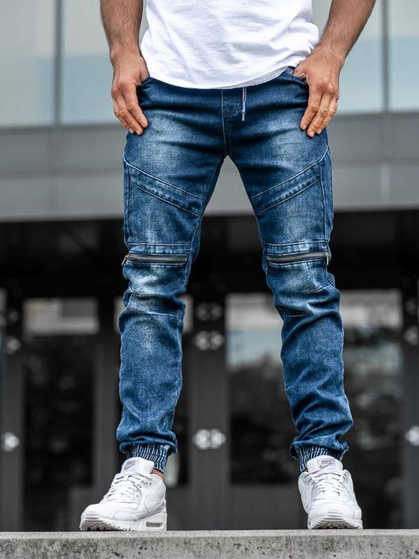 Чоловічі джинсові штани джоггери темно-сині Bolf KA576