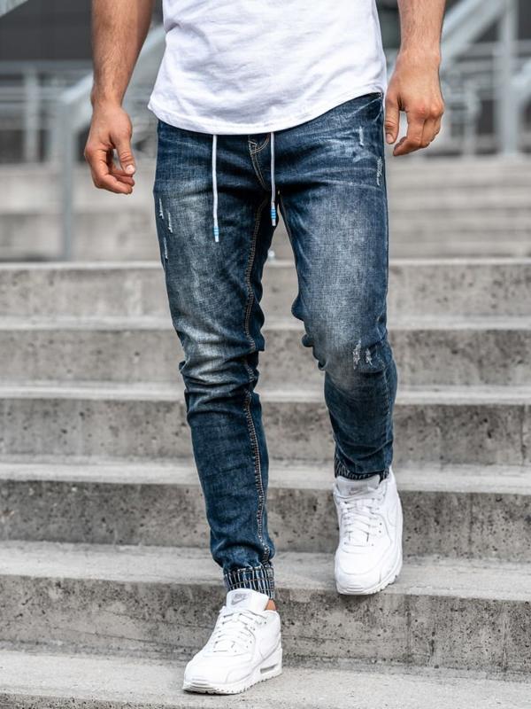 Чоловічі джинсові штани джоггери темно-сині Bolf KA679