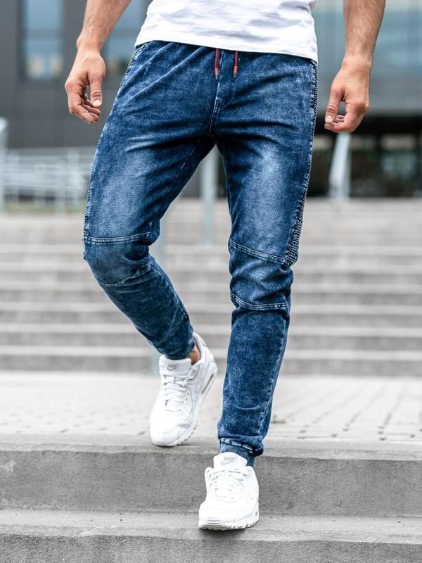 Чоловічі джинсові штани джоггери темно-сині Bolf KK1021
