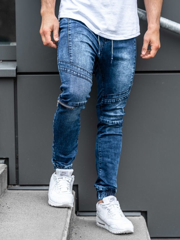 Чоловічі джинсові штани джоггери темно-сині Bolf KS565