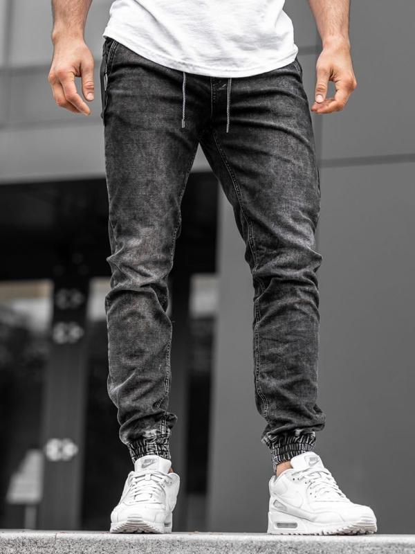 Чоловічі джинсові штани джоггери чорні Bolf KA1076