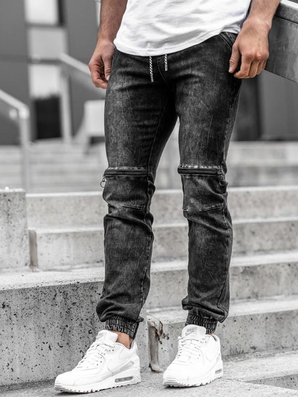 Чоловічі джинсові штани джоггери чорні Bolf KA539