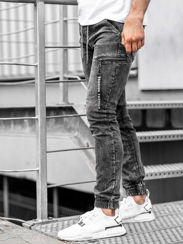 Чоловічі джинсові штани джоггери чорні Bolf KA689-2