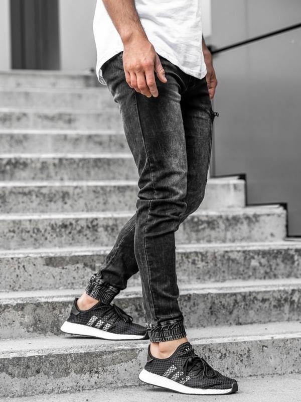 Чоловічі джинсові штани джоггери чорні Bolf KA739