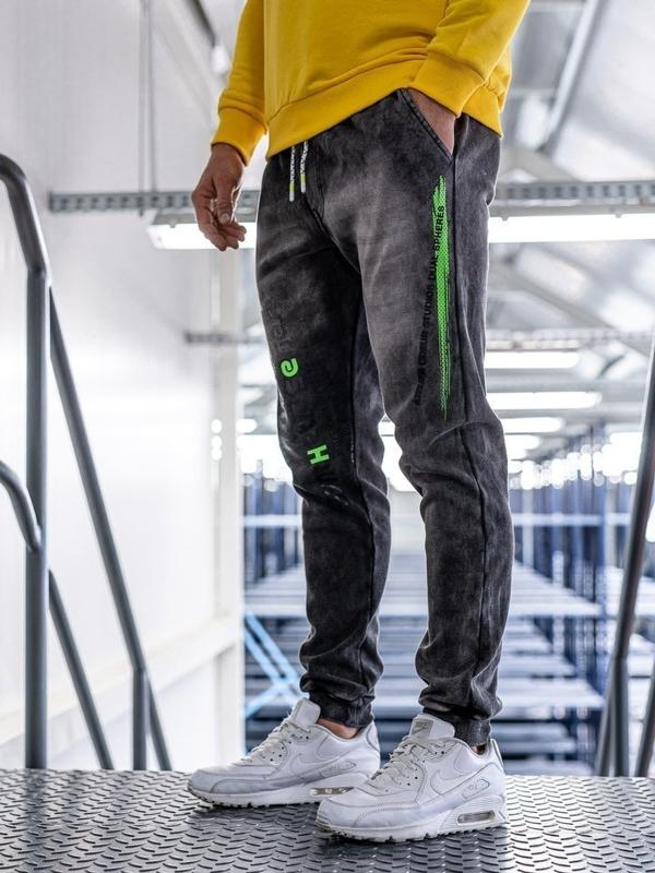 Чоловічі джинсові штани джоггери чорні Bolf KK1067