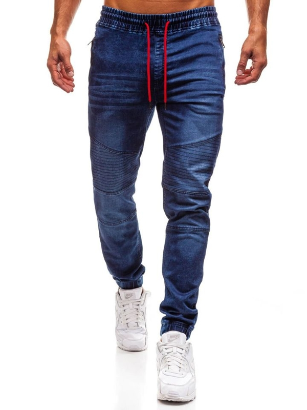 Чоловічі джинсові штани джогери темно-сині Bolf Y258