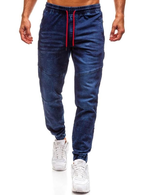 Чоловічі джинсові штани джогери темно-сині Bolf Y267