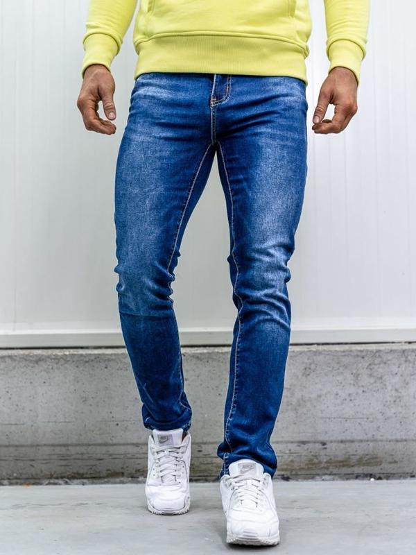 Чоловічі джинсові штани з ременем straight leg темно-сині Bolf KA1767