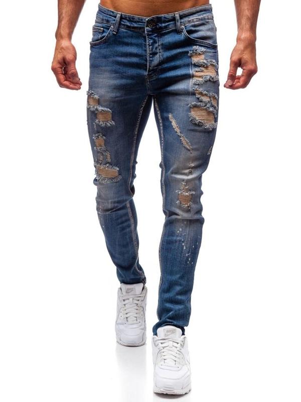 Чоловічі джинсові штани темно-сині Bolf 1004