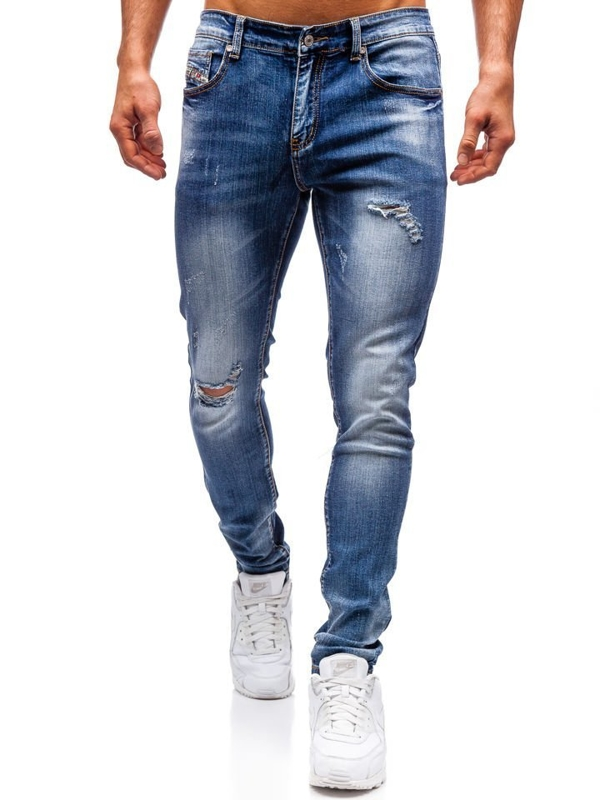 Чоловічі джинсові штани темно-сині Bolf 71824