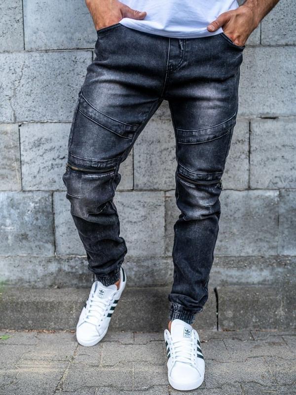 Чоловічі штаны джоггери джинсові чорні Bolf KA573