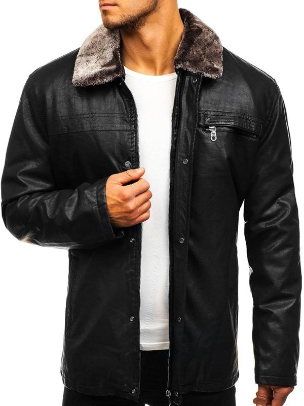 Чорна чоловіча шкіряна куртка Bolf 293