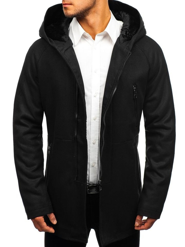 Чорне чоловіче зимове пальто Bolf 3128