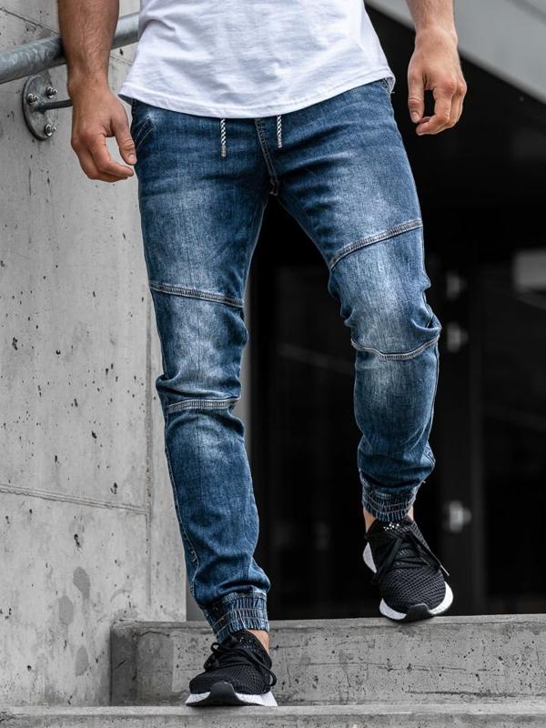 Штани джоггери джинсові чоловічі темно-сині Bolf KA673