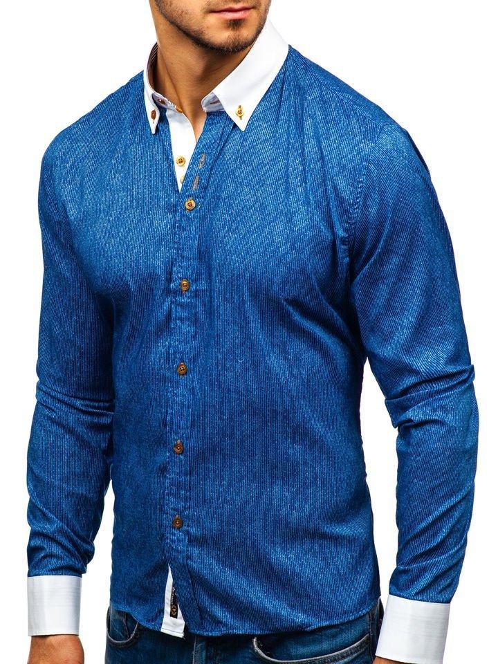 ... Чоловіча сорочка з візерунком та довгим рукавом темно-синя Bolf 8842 ... 4a6cc3ea0ee63