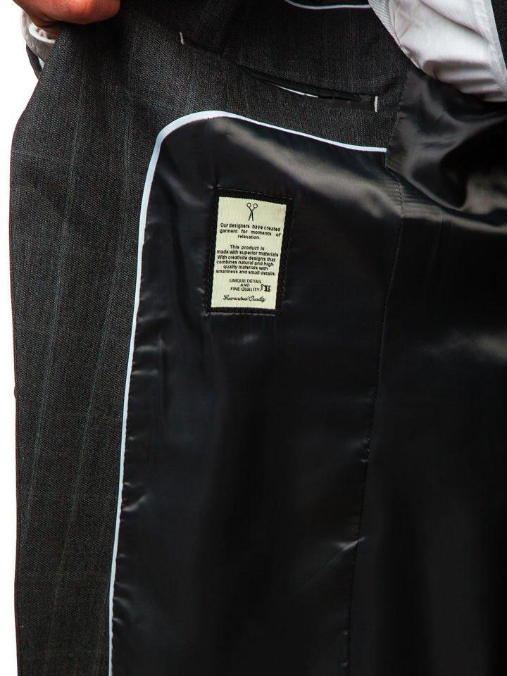Чоловічий костюм у клітину з жилеткою антрацитовий Bolf 18200 СВІТЛО ... d50add5e26954