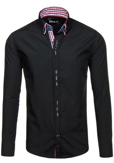 Сорочка чоловіча елегантна з довгим рукавом чорна Bolf 0926