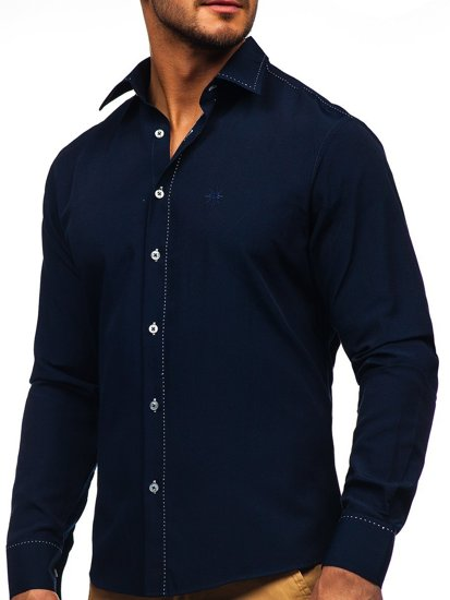 Сорочка чоловіча BOLF 4719 темно-синя