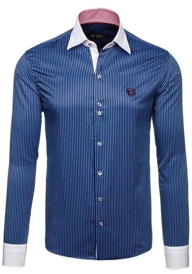 Темно-синя елегантна чоловіча сорочка в смужку з довгим рукавом Bolf 4784