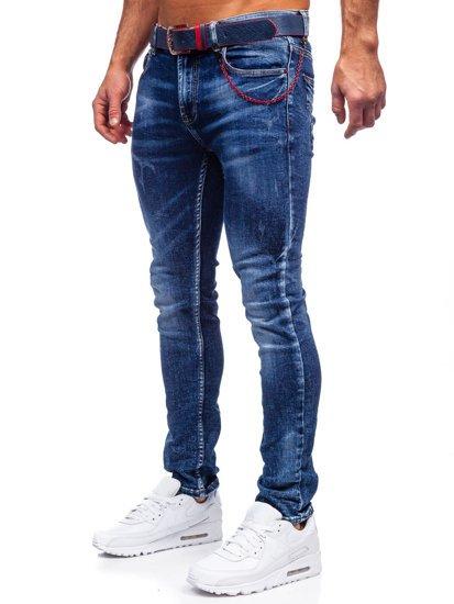 Темно-сині чоловічі джинси slim fit з ременем Bolf 80032W0