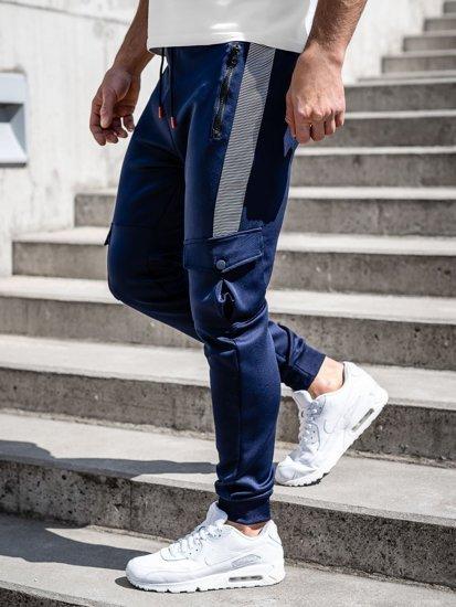 Темно-сині чоловічі спортивні штани карго Bolf K10283