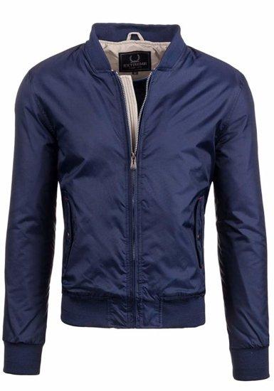 Чоловіча демісезонна куртка бомберка темно-синя Bolf 169a