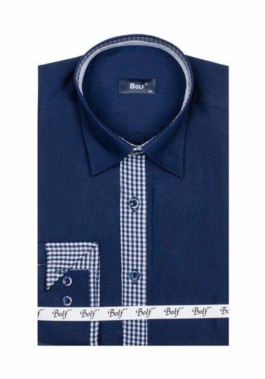 Чоловіча елегантна сорочка з довгим рукавом темно-синя Bolf 6873
