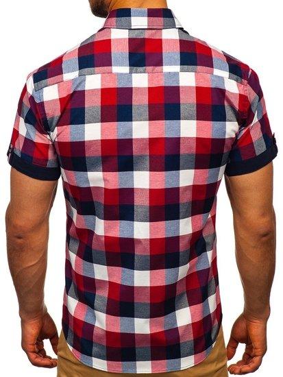 Чоловіча картата сорочка з коротким рукавом бордова Bolf 5532