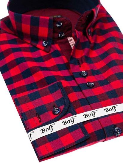 Чоловіча сорочка у клітину з довгим рукавом червона Bolf 4701