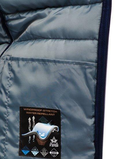 Чоловіча стьобана безрукавка з капюшоном темно-синя Bolf AB045