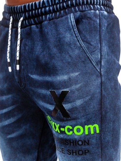Чоловічі джинсові штани джоггери темно-сині Bolf KK1061