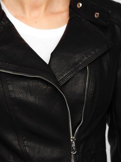 Чорна жіноча шкіряна куртка Bolf R202