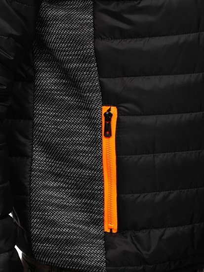 Чорна спортивна чоловіча демісезонна куртка Bolf M10017
