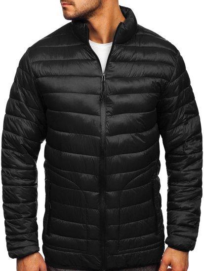 Чорна стьобана демісезонна чоловіча куртка Bolf 13007