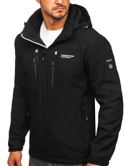 Чорна чоловіча куртка софтшелл Bolf WX057