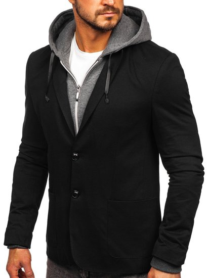 Чорна чоловіча повсякденна куртка з капюшоном Bolf 66