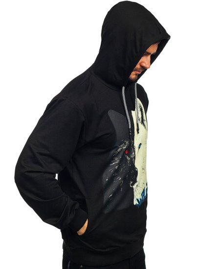 Чорна чоловіча толстовка з капюшоном і принтом Bolf 146144