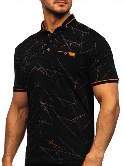 Чорна чоловіча футболка поло з принтом Bolf 192280