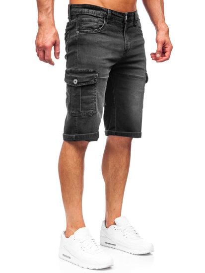 Чорні джинсові шорти чоловічі карго Bolf K15003-2
