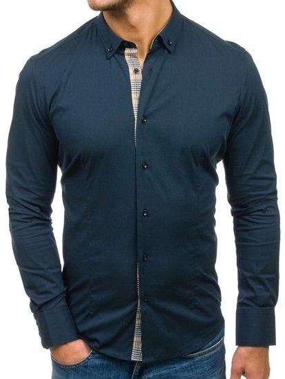 чоловіча сорочка з коротким рукавом темно-синя Bolf 7197
