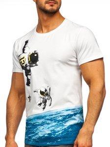 Біла чоловіча футболка з принтом Bolf S10033