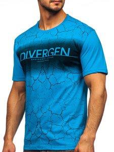 Бірюзова чоловіча футболка з принтом Bolf 14424