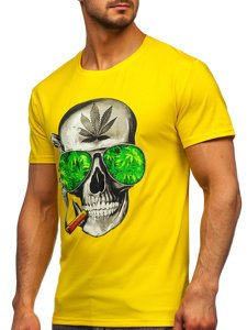Жовта чоловіча футболка з принтом Bolf Y70019