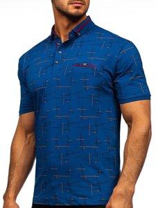 Синя чоловіча футболка поло з принтом Bolf 192232