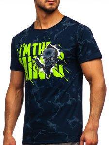 Темно-синя чоловіча футболка з принтом Bolf Y70028