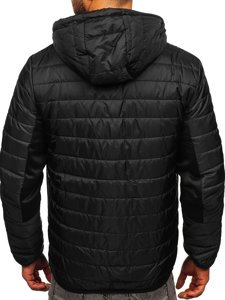 Чорна спортивна чоловіча демісезонна куртка Bolf M10001