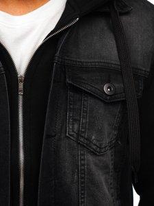 Чорна чоловіча джинсова куртка з капюшоном Bolf 10350